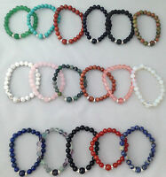 GEMSTONE 8mm Round Beads Stretch BRACELETS Wrist Size
