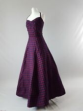 Vintage MONSOON Dress 80s Ballgown Check Tartan Silk Prom 50s 80s Uk 8-10