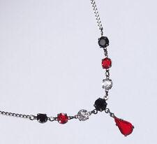 Halskette Collier Kette chrom funkelnder Strass siamrot kristall jet schwarz Neu