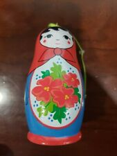 "Russian Nesting Doll Style Wooden Christmas Ornament 4 1/2"" Tall"