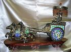 C.1890 IMPORTANT SILVER ENAMEL LARGE SCULPTURE HORSE DRAWN CARRIAGE & FIGURES