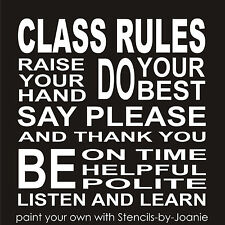 Class Rules Stencil Raise Hand Be Polite Say Thank You Please Manors School Sign