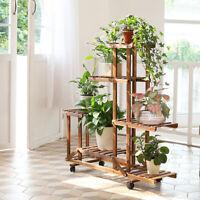 Rolling Wooden Plant Rack Shelf Flower Pot Holder Corner Display Stand Lockable