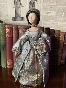 "Vintage OOAK Hand Made Display Doll 9.5"" - Medieval/Elizabethan"
