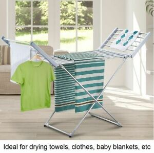 Electric Heated Towel Clothes Rack Dryer Warmer Airer Indoor Garment Rail 230W
