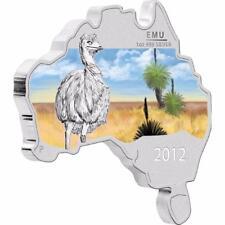 Australia 2012 $1 - Australian Map Shaped Coin Series - Emu 1 Oz Silver Coin
