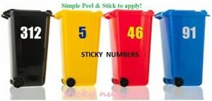 """3 any colour Wheelie Bin Stickers House Number -6"""" High & Recycling Bin Stickers"""