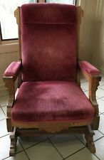 Antique Carved Victorian Platform Rocking Chair-Mauve Velvet-Eastlake Rocker