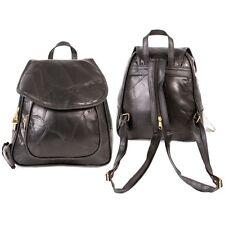Ladies Soft Light Weight Patchwork Leather Backpack Rucksak Black Travel Sport