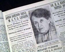 ANNA ADAMS GORDON Woman's Christian Temperance Union Head DEATH 1931 Newspaper