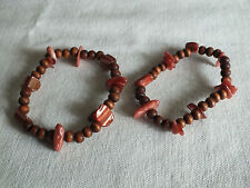 "Beautiful Stretch Bracelet Set 2 Copper Brown Beads 1/2"" Wide CUTE"