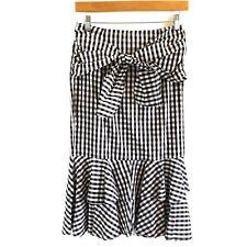 Gianni Bini Skirt XS XSmall Gingham Black White Tie Front Pencil Midi Ruffle