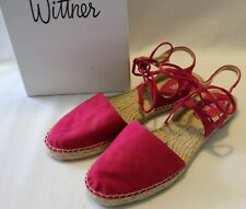 WITTNER ~ Emma Spicy Fuchsia Suede Espadrilles w Ankle Straps 39 8.5 Like New