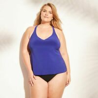 NWT Size 18W Plus Size Tankini Top - Blue Racerback - Plus Size Swimsuit