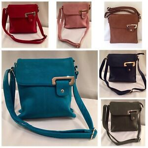 Faux leather cross body satchel bag with chrome or gold detail at front. 25cm x