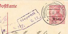 Germany WWI Belgium Ovpt Postal Germania Censor Two Violet & Black #33 1918 7v