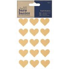 60 Kraft Heart Stickers by Papermania Bare Basics
