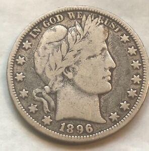 1896-o. Barber half , VG + / F , very good plus to nearly Fine , scarce