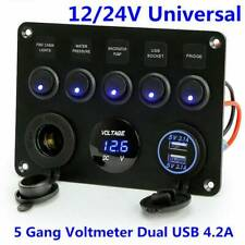 Switch Control Panel 12V 24V 5 Gangs LED Rocker Car Boat Marine 2 USB +Voltmeter
