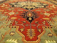 12 x 18 Handmade Heriz Serapi Rug Vegetable Dye Hand Spun VERY SOFT FINE WOOL
