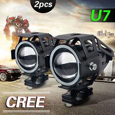 2Pcs LED CREE U7 Angel Devil Eye Light 125W Motorcycle Fog Spotlight HeadLight