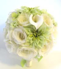 Wedding Silk Flowers Bouquet 17 pc Bridal package GREEN CREAM CALLA LILY Daisy