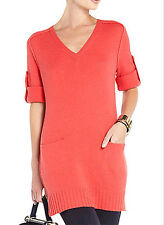 "$228 BCBG PRIM ROSE ""HANSEN"" WOOL V-NECK SWEATER DRESS NWT M"