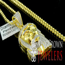 MENS LADIES GENUINE DIAMOND GOLD FINISH JESUS CROSS CHARM PENDANT CHAIN 0.50 CTW