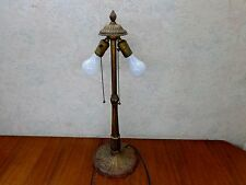 "Vintage Tall Ornate 24"" Cast Iron Table Two Bulb Chains Table Lamp Works! VgC"