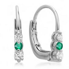 0.25 CT 18K White Gold Round White Diamond & Green Emerald Ladies Hoop Earrings