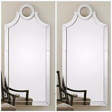 """TWO HUGE STATELY 66"""" ANTIQUED BEVELED MIRRORED FRAME WALL MIRROR MODERN VINTAGE"""