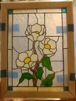 1:12 Scale Leaded Stained Glass Window White Flowers Dollhouse Miniature