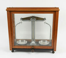 Antique GRIFFIN & GEORGE Ltd Minor BEAM SCALES in Wooden & Glass CASE c.1900