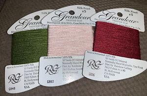 Rainbow Gallery Grandeur silk pearl #5 100% silk 10 yards ea G848 G883 G826 Lot