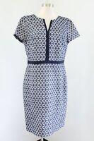 Ann Taylor Navy Blue White Geometric Print Short Sleeve Sheath Dress 12 Career