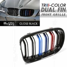 /// M Tri Color Gloss Black Dual Fin Front Grille for BMW E90 E91 LCI 2009-2012