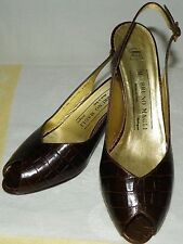 Vintage Bruno Magli Italy Brown Faux Crocodile Slingback Pumps Sandals Size 7AA