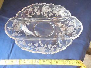 Heisey Glass Rose Etch Waverly 3 Compartment Relish Dish Uranium Vaseline Glows