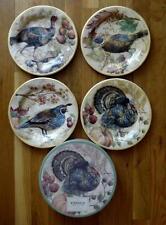 "NIB 4 Pottery Barn Fresco Bird Turkey & Quail Salad Plates Thanksgiving 9"""