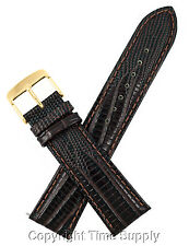22 mm BROWN LEATHER WATCH BAND LIZARD GRAIN WITH SPRING BAR GOLD TONE BUCKLE