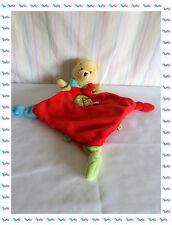 C - Doudou Semi Plat Losange Winnie Rouge Jaune Vert Bleu Oiseau Disney Baby