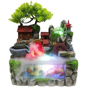 LED Rockery Fountain Waterfall Fengshui Desktop Atomizing Humidifier Indoor Desk