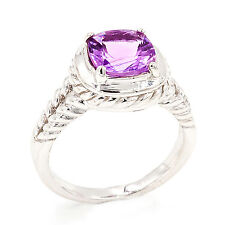 EARTH MINED 8MM AMETHYST CUSHION RARE GEMSTONE STERLING SILVER 925 RING SIZE 7