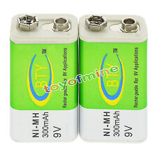2x 9V Durable Rechargeable Battery 9 Volt 300mAh BTY Green Ni-Mh Batteries Cell