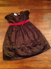 Nwt Gymboree Girls Dress Size 9 Holiday Traditions Line Brown W/ Deep Red Sash