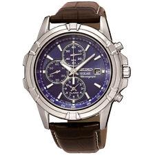 Seiko Energia Solare da uomo con cronografo allarme ** SSC 141 P 2 ** Orologio Cinturino in Pelle Marrone Nuovo