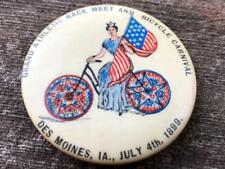 1899 GRAND ATHLETIC RACE MEET & Bicycle Carnival Pinback Button Des Moines Iowa