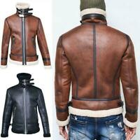Mens Fleece Lining Coat Thick Warm Outwear Biker Jacket Suede Leather Winter Hot