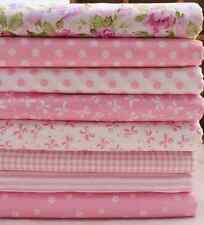 8pcs Bundle Pink Cotton Fabric/material Floral Dots Joblot Quilting Crafts