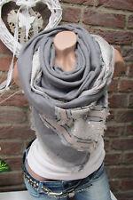 XXL écharpe rayé franges écharpe Plaid à carreaux étole poncho gris écharpe